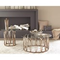Coaster 70578 Modern Round Coffee Table with Metal Base