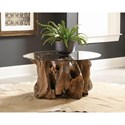 Scott Living 721668 Rustic Teak Root Coffee Table with Glass Top