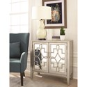 Scott Living 950771 Accent Cabinet with Mirrored Doors Accented with Lattice Designs
