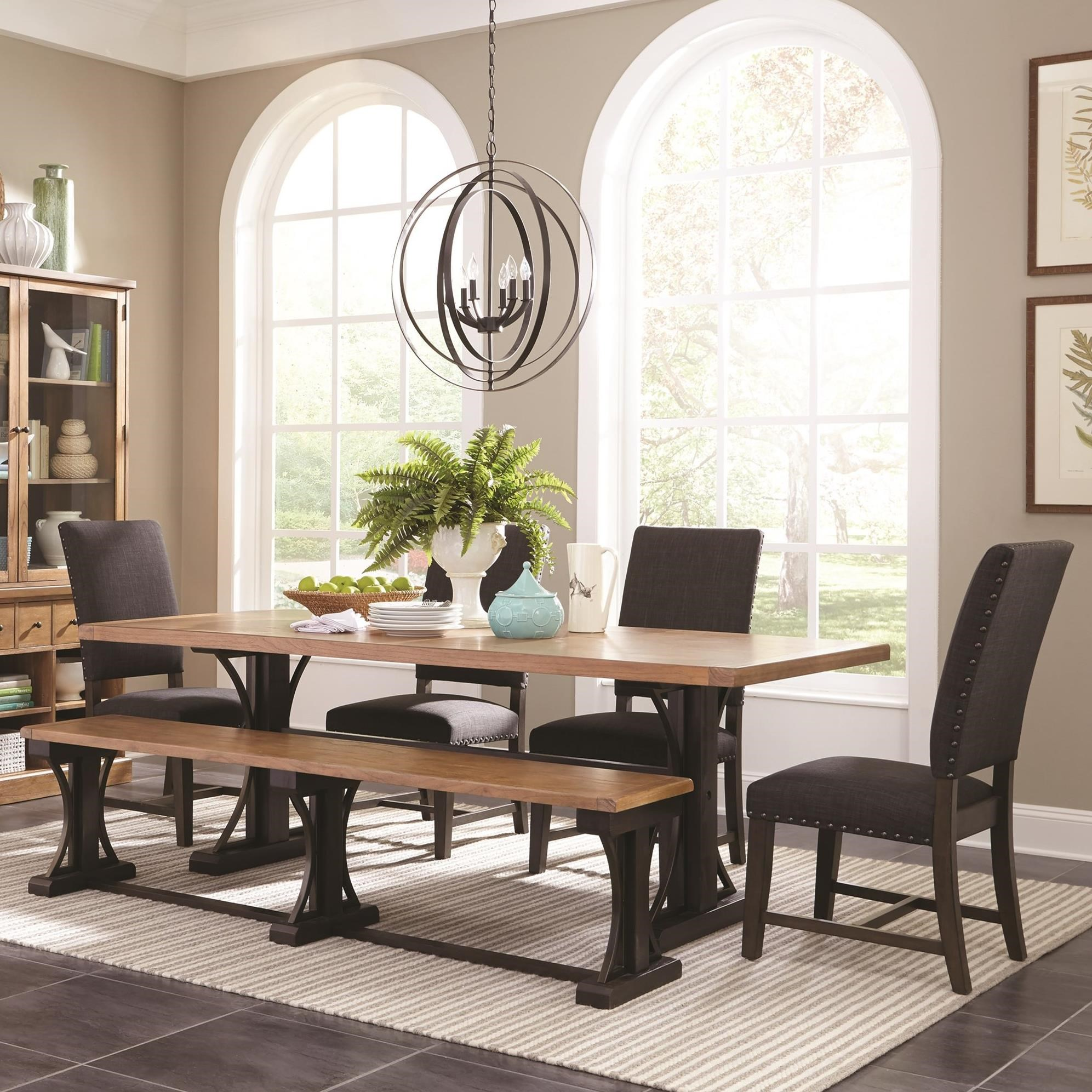 Scott Living Bi Farmhouse Table Set With Parson Chairs And A Bench