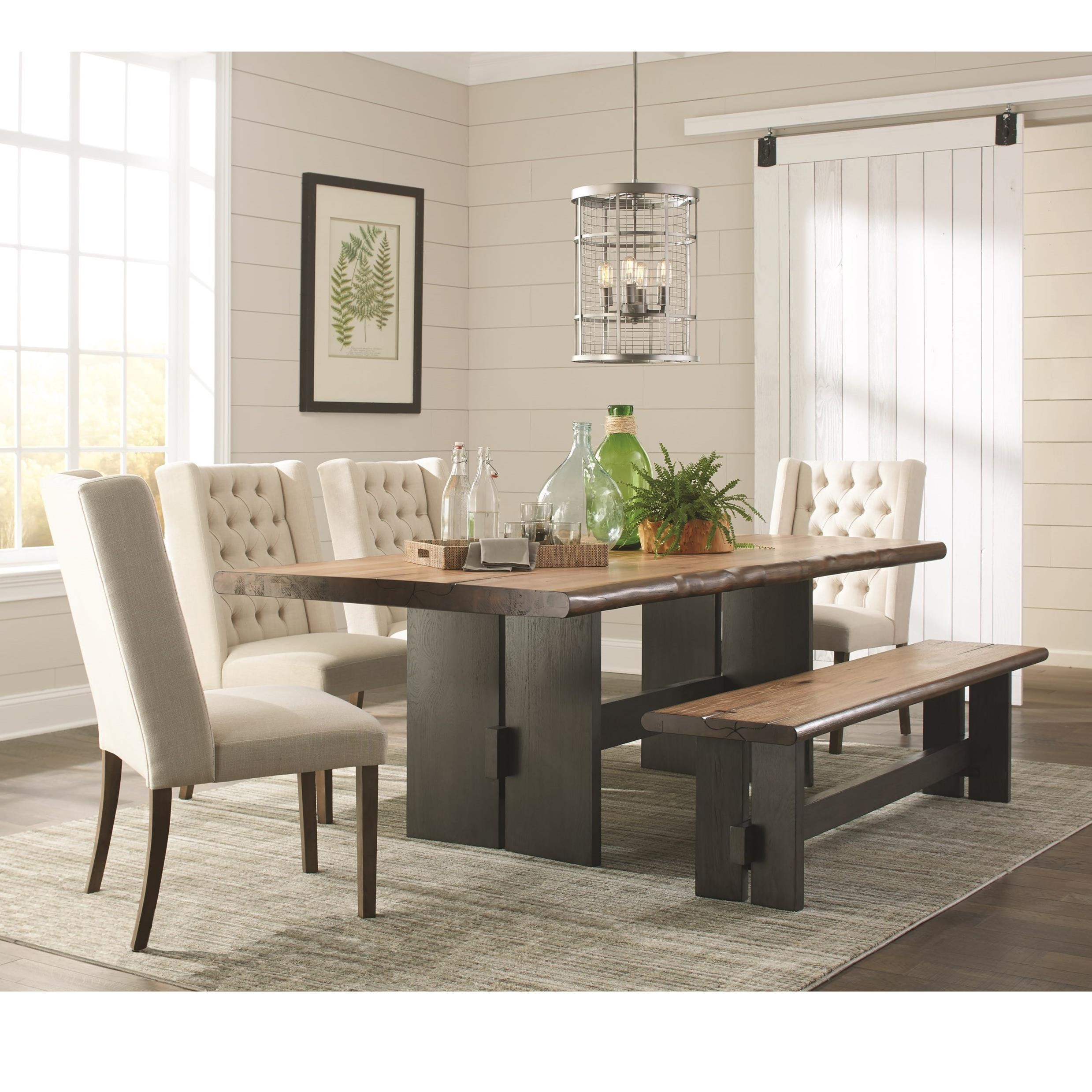 Marquette Rustic Live Edge Dining Table Set With Bench By Scott Living At Value City Furniture