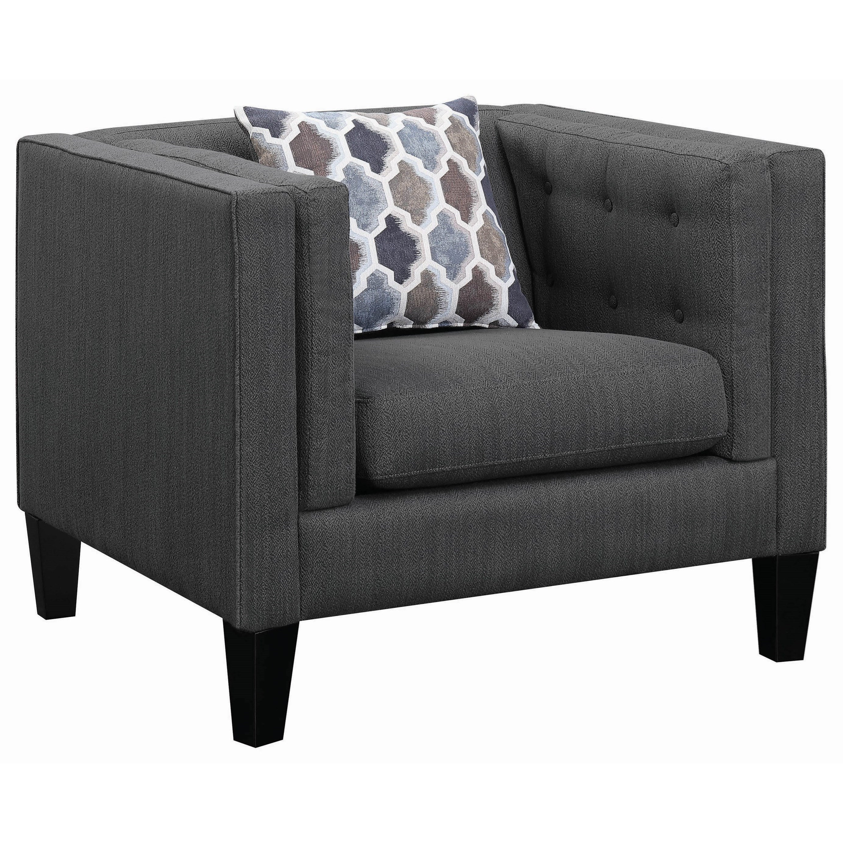 Scott living sawyer modern upholstered chair with track - Modern upholstered living room chairs ...
