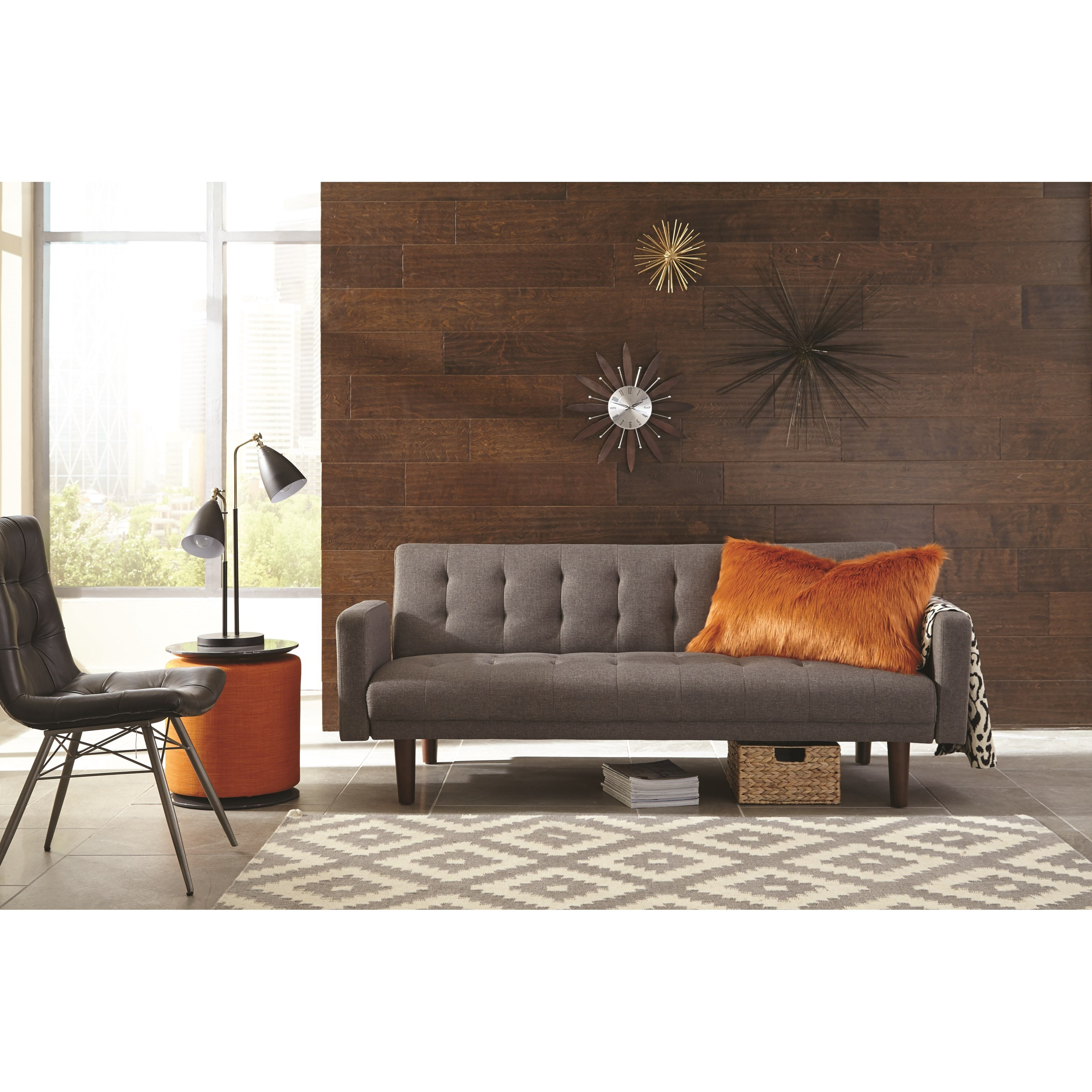 Levitz Home Furnishings: Scott Living Skyler 360010 Modern Sofa Bed With Button