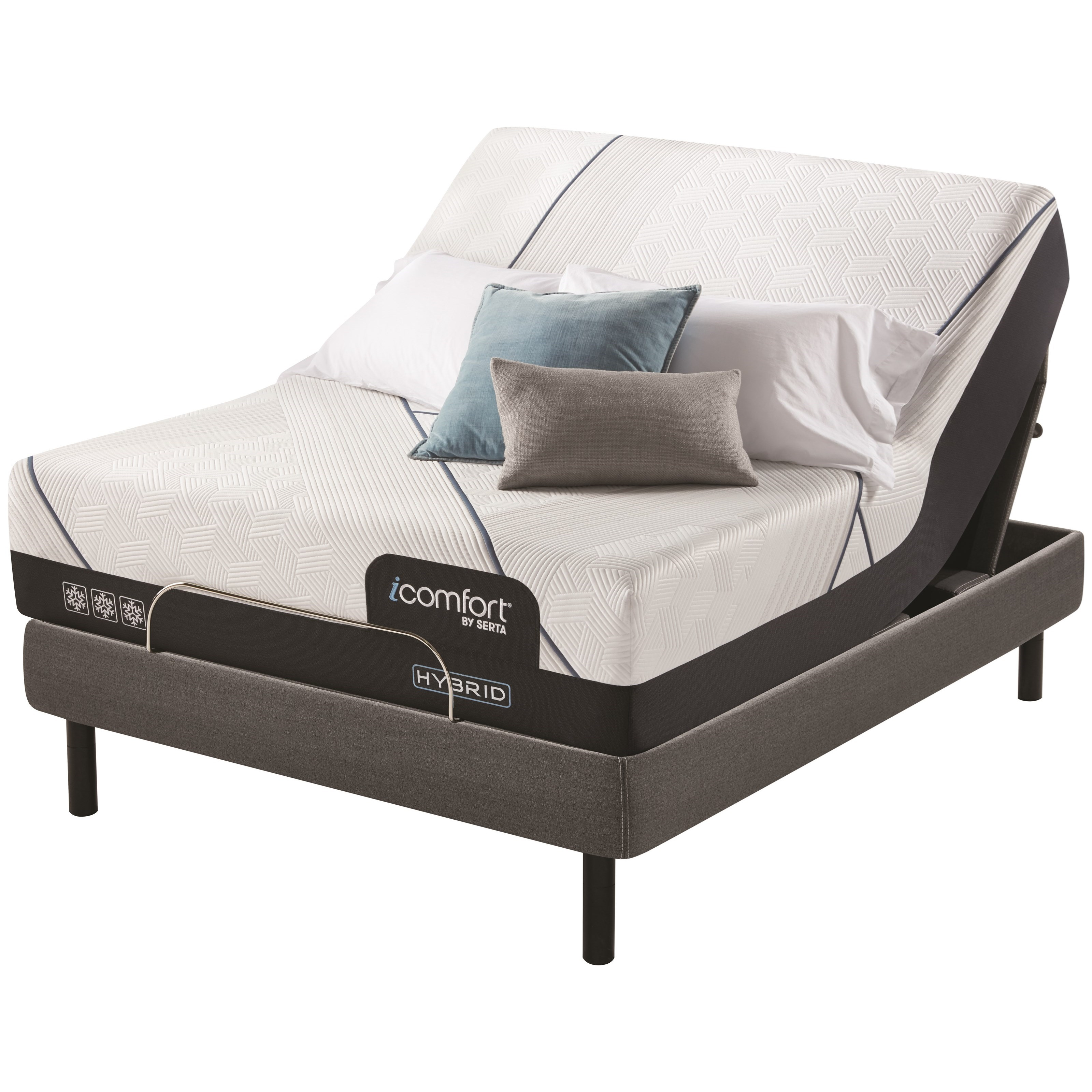 "CF4000 Hybrid Firm Queen 14"" Firm Hybrid Adj Set by Serta at Miller Waldrop Furniture and Decor"