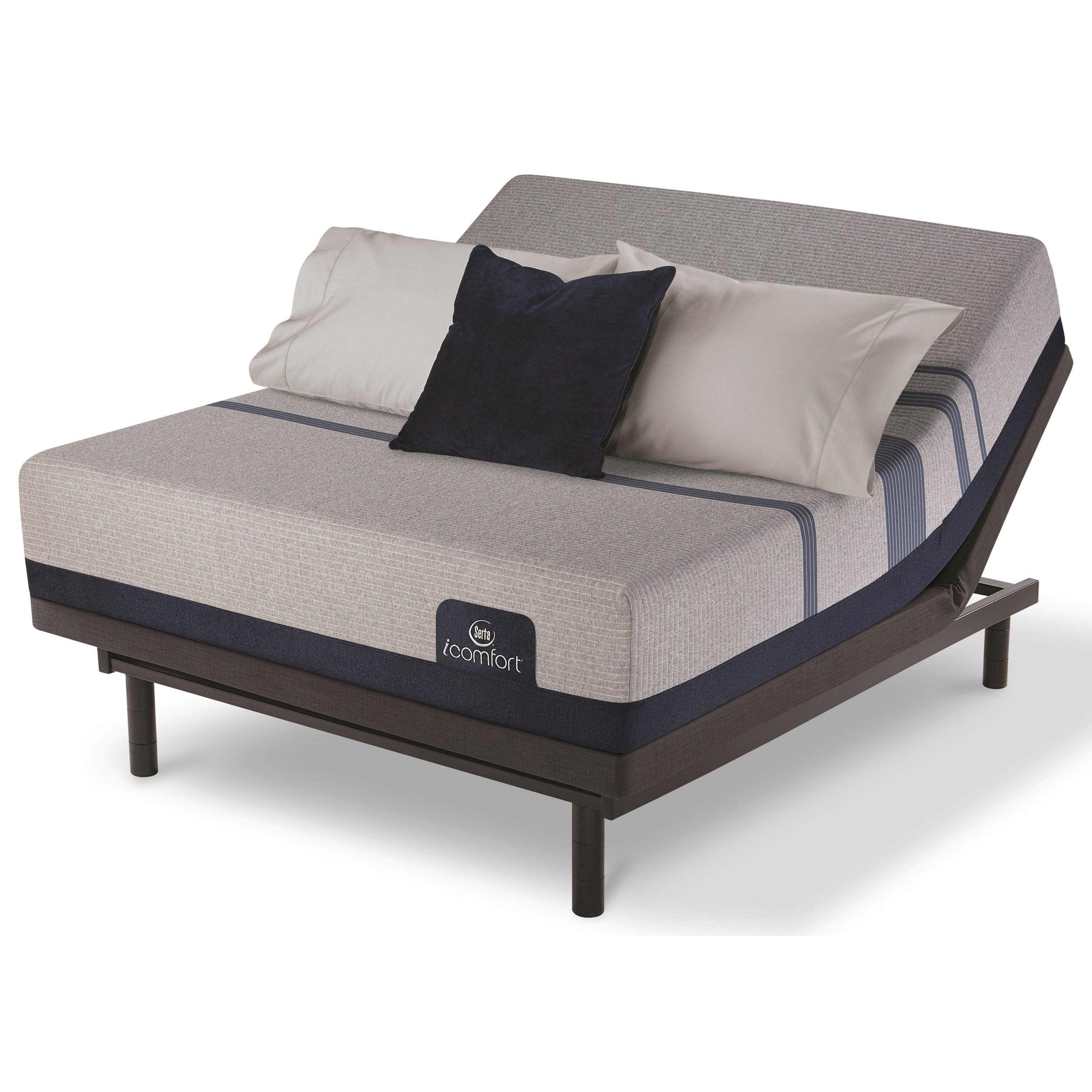 Serta iComfort Blue Max 1000 Cushion Firm Twin XL Cushion Firm Memory Foam Adj Set - Item Number: 500801268-1020+500826619-7520