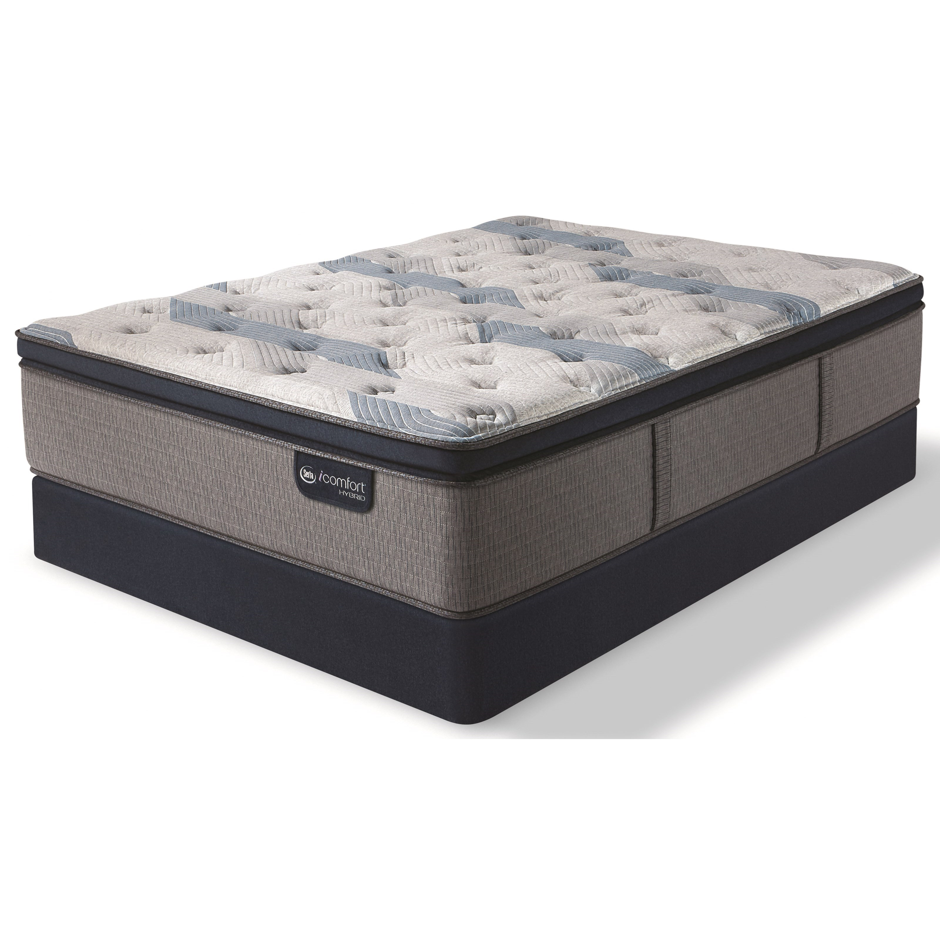 Serta iComfort Hybrid Blue Fusion 300 Plush PT King Plush Pillow Top Hybrid Low Pro Set - Item Number: 300PlushPT-K+2xFndtnLP-TXL