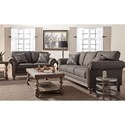 Serta Upholstery Belmont Traditional Upholstered Loveseat with Rolled Arms