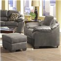Serta Upholstery by Hughes Furniture 3800 Square Accent Ottoman - Shown with Comfortable Accent Chair