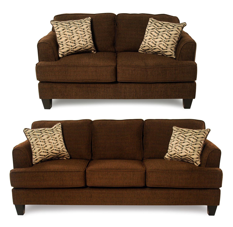 Serta Upholstery Freerider 2-Piece Sofa & Loveseat Package - Item Number: 5600-S+LS-BRN