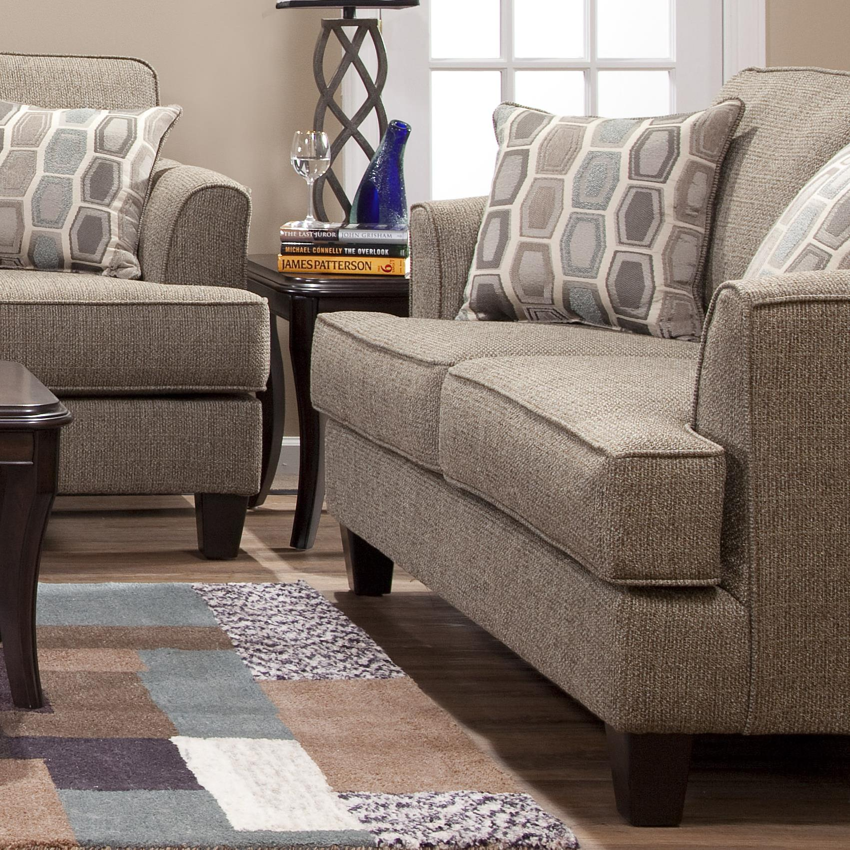 Serta Upholstery by Hughes Furniture 5600 Transitional Love Seat - Item Number: 5600LS-BBBG