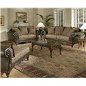 Serta Upholstery Monaco Wood Face Love Seat with Romantic Pillow Back - Shown with Pillow Back Sofa and Coordinating Collection Chaise