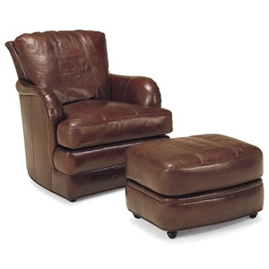 SW1997 Transitional Leather Swivel Chair and Ottoman Set by Whittemore-Sherrill