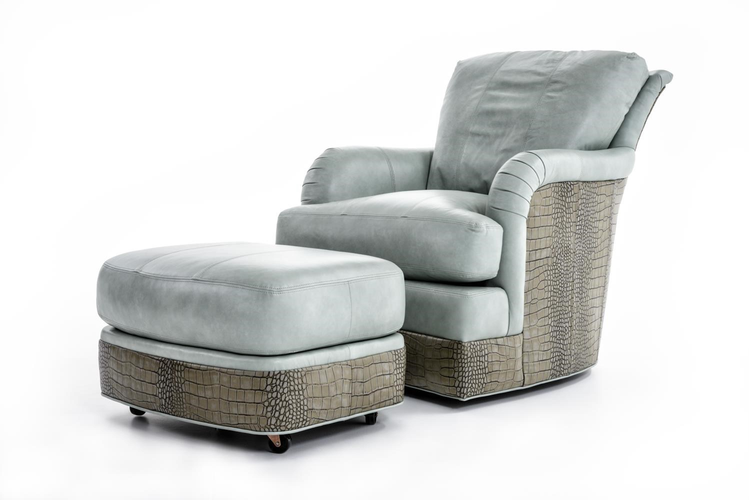 Sherrill SW1997 Swivel Chair and Ottoman Set - Item Number: SW1997-01+1997-00  CORINTRIAN AQUA