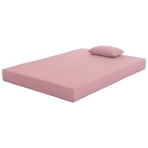 """Full Pink 7"""" Mattress and Matching Pillow"""