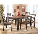 Signature Design by Ashley Alonzo Six Piece Rectangular Butterfly Leaf Table Set