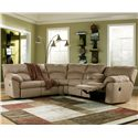 Signature Design by Ashley Amazon - Mocha Casual L-Shaped Sectional Sofa with Pillow Arms - Shown in Reclining Position