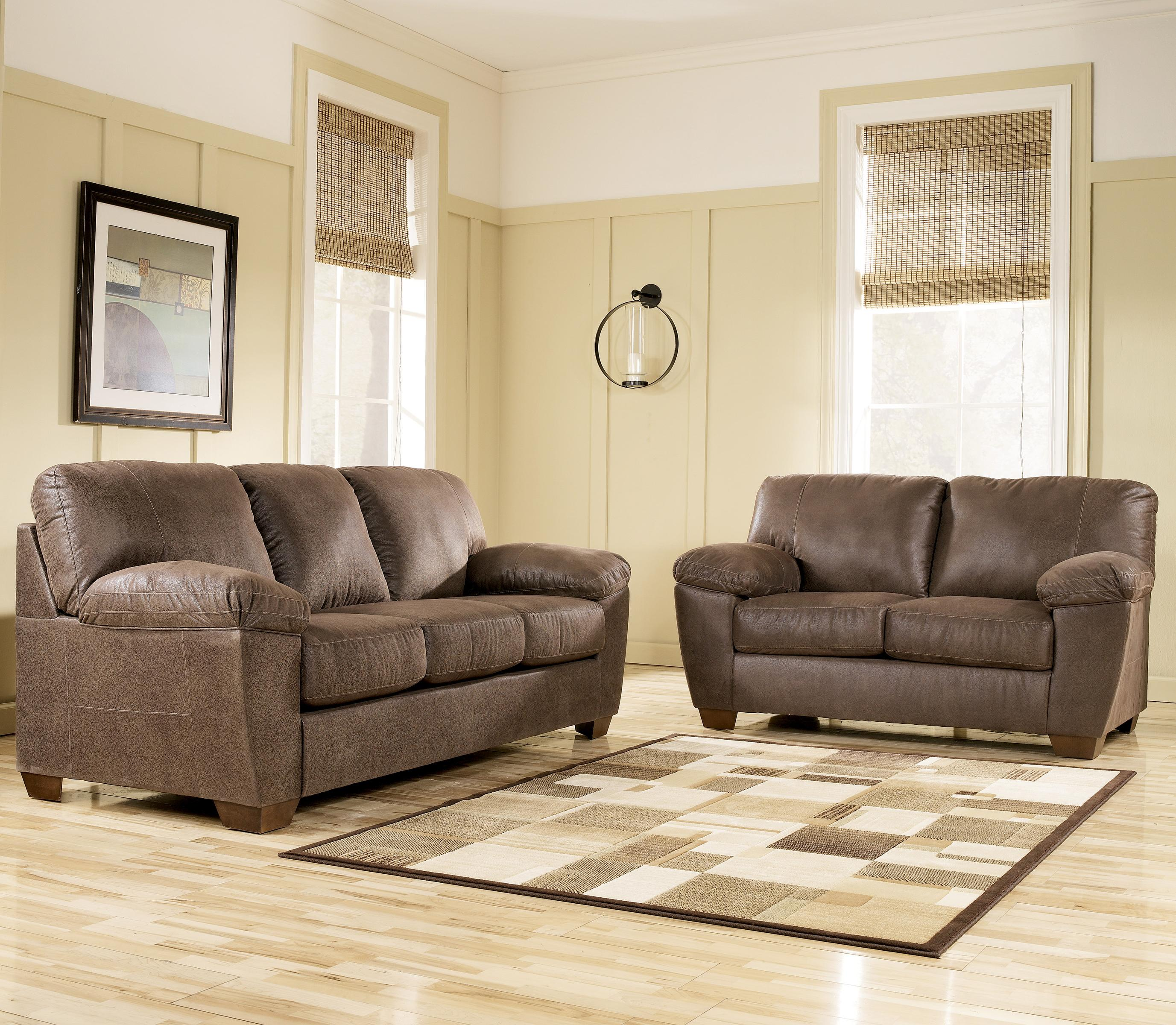Signature Design By Ashley Amazon Walnut 6750535 Loveseat With Pillow Arms Household