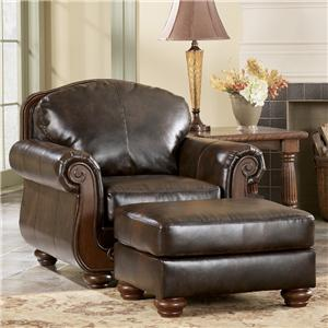 Signature Design by Ashley Barcelona - Antique Chair & Ottoman