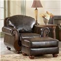 Signature Design by Ashley Barcelona - Antique Traditional Chair - Shown with ottoman