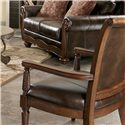 Signature Design by Ashley Barcelona - Antique Showood Accent Chair with Faux Leather Seat - Detail of back of chair