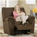 Signature Design by Ashley Benjamin - Cafe Casual Rocker Recliner with Pillow Arms - Shown in Reclining Position