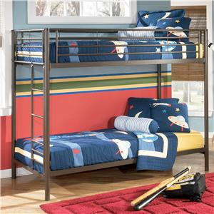 Signature Design by Ashley Furniture Benjamin  Twin Over Twin Metal Bunk Bed