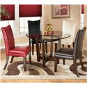 Signature Design by Ashley Charrell Red Upholstered Dining Side Chair - Shown with Multicolor Dining Set with Round Glass Top Table
