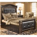 Signature Design by Ashley Coal Creek Queen Upholstered Bed with Under Bed Storage - Item Number: B175-57+61+54+98+60