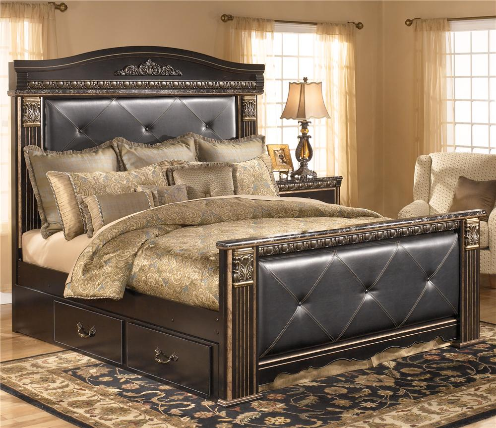 Signature Design by Ashley Coal Creek King Upholstered Mansion Bed with Storage - Item Number: B175-58+62+56+99+60
