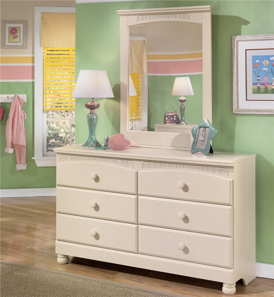 Signature Design by Ashley Cottage Retreat 6 Drawer Dresser and Mirror - Item Number: B21321+35-CR
