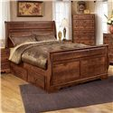 Signature Design by Ashley Pine Ridge Queen Sleigh Bed with Storage - Item Number: B258-57+54+96+60