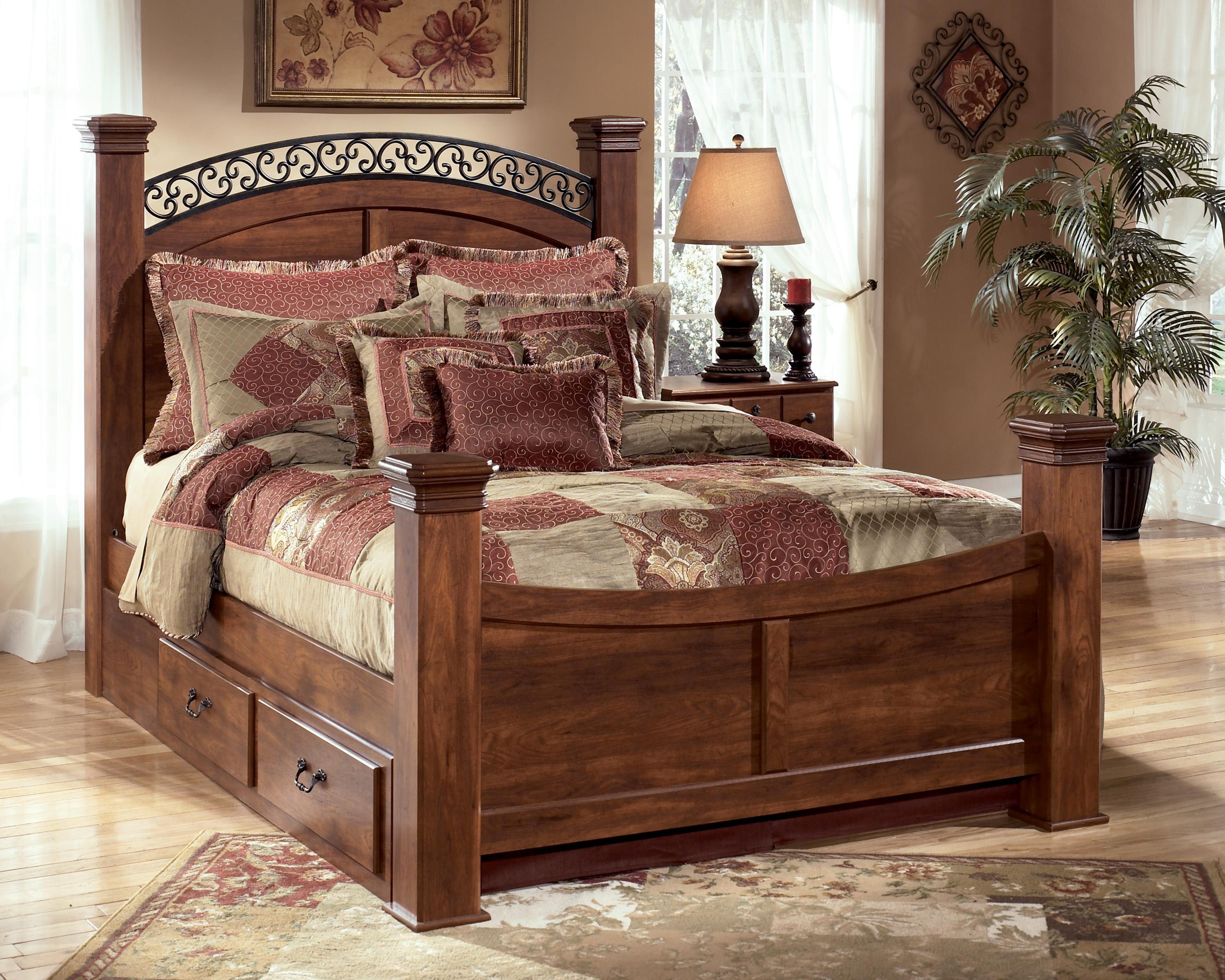 Signature Design by Ashley Timberline Queen Poster Bed with Storage - Item Number: B258-77+71N+64N+98N+60