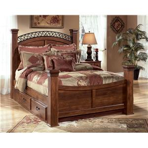 Queen Poster Bed with Storage