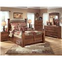 Signature Design by Ashley Timberline King Poster Bed with Underbed Storage - Shown with Night Stand, Chest, Dresser, and Mirror