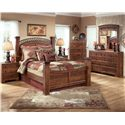 Signature Design by Ashley Pine Ridge King Poster Bed - Shown with Night Stand, Chest, Dresser, and Mirror