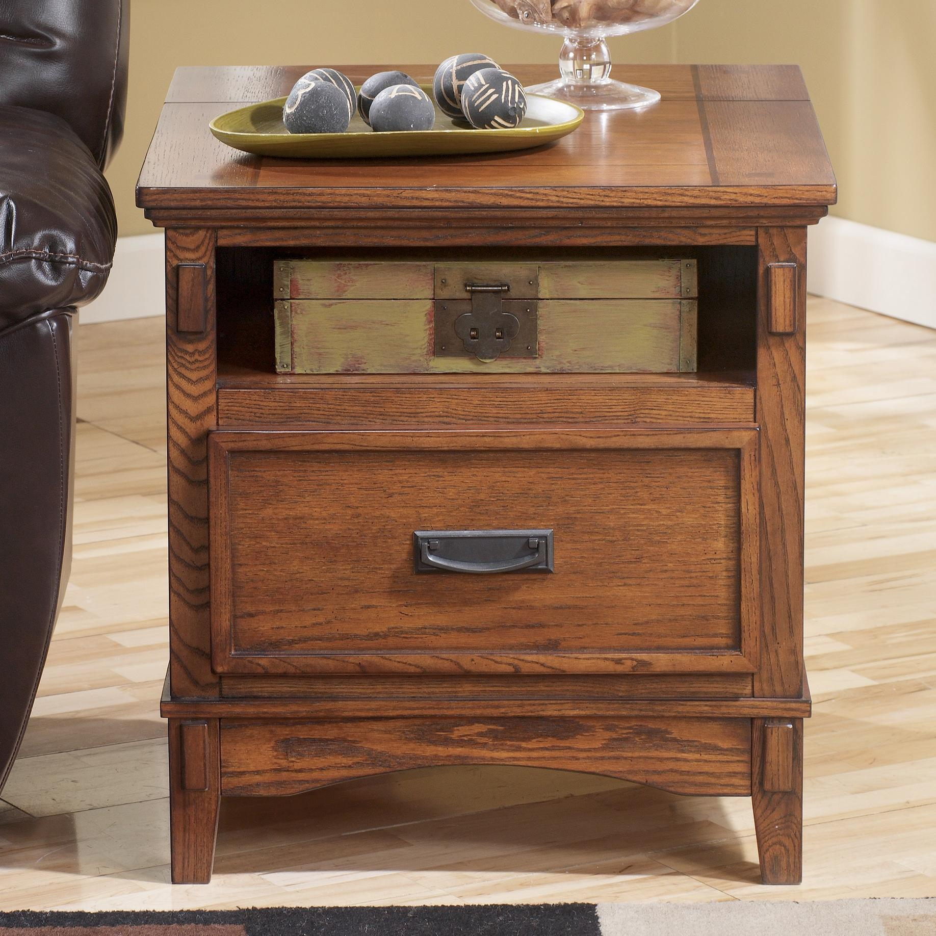 Cross Island Rectangular End Table by Signature at Walker's Furniture