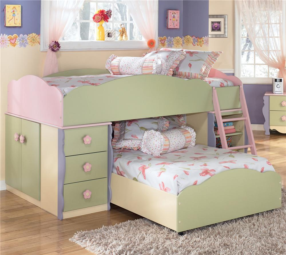 Signature Design By Ashley Doll House Twin Loft Bed With Built In Drawers,  Doors, And Shelves   AHFA   Loft Bed Dealer Locator