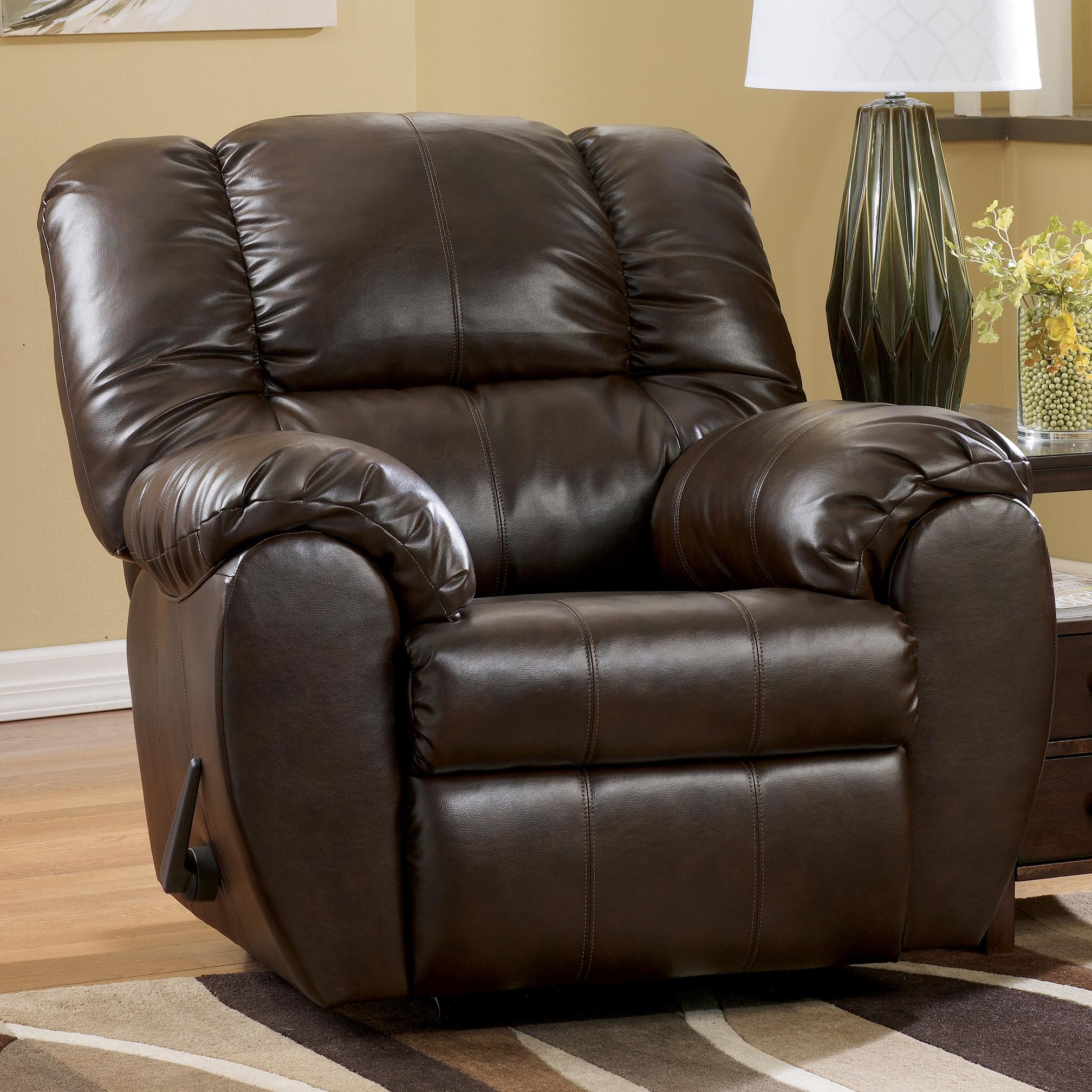 Ordinaire Dylan DuraBlend   Espresso Bonded Leather Match Rocker Recliner By  Signature Design By Ashley