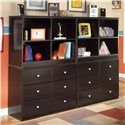 Signature Design by Ashley Embrace Loft Open Bookcase - Shown with Storage Drawer Chest