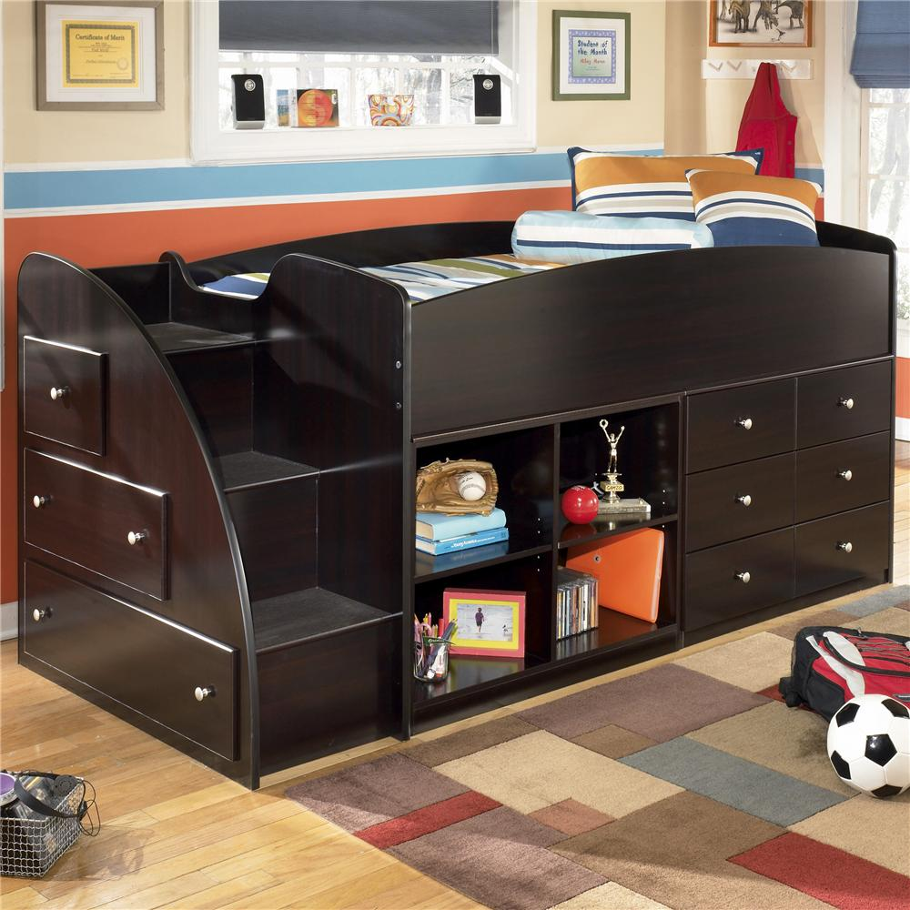 Signature Design by Ashley Embrace Twin Loft Bed with Bookcase & Chest Storage - Item Number: B239-68T+13L+17+19
