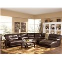 Signature Design by Ashley Exhilaration - Chocolate Contemporary Leather Sectional - Item Number: 4240140+57+2x46+77+07