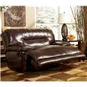 Signature Design by Ashley Exhilaration - Chocolate Leather Zero Wall Recliner with Wide Seat - Shown with Recliner Activated