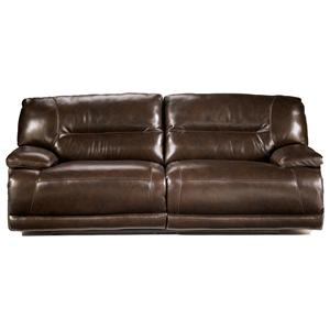 Signature Design by Ashley Exhilaration - Chocolate Reclining 2-Seat Leather Sofa w/ Power