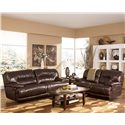 Signature Design by Ashley Exhilaration - Chocolate Contemporary Leather Reclining Leather Love Seat with Power - Shown with Reclining Sofa