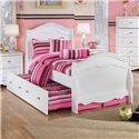 Signature Design by Ashley Lil' Darling Twin Sleigh Bed with French Inspired Mouldings - Shown with trundle bed