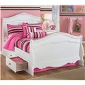Signature Design by Ashley Exquisite Full Sleigh Bed with Decorative Shaped Moldings  - Shown with under bed storage