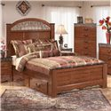 Signature Design by Ashley Fairbrooks Estate Queen Poster Bed with Ornate Scrolled Insert - Shown with optional Under Bed Storage