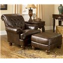Signature Design by Ashley Fresco DuraBlend - Antique Traditional Accent Chair with Tufted Back and Bun Feet - Shown in Living Room with Matching Ottoman