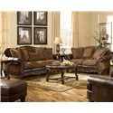 Signature Design by Ashley Fresco DuraBlend - Antique Traditional Stationary Loveseat with Bun Wood Feet - Shown in Living Room Setting with Matching Sofa