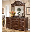 Signature Design by Ashley Gabriela 9 Drawer Traditional Dresser with Marbled Top - Shown with Mirror